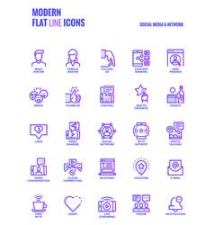 Flat line gradient icons design-social media amp vector