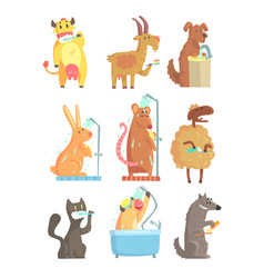 Funny animals taking a shower and washing set vector