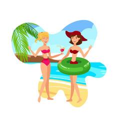 girlfriends on tropical resort vector image