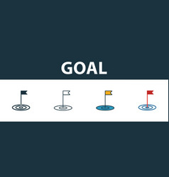 Goal icon set premium symbol in different styles vector