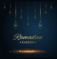 Golden islamic hanging lamps ramadan kareem vector