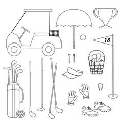 Golf equipment black outline digital stamps vector