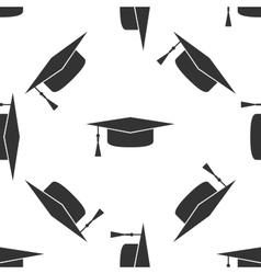 Graduation cap icon pattern vector image