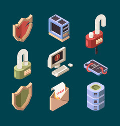 hacker isometric cyber security email spam vector image
