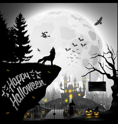 Halloween night background with roaring wolves vector