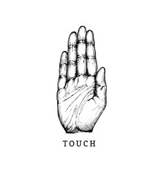 Hand drawn icon of touch sense in engraved style vector