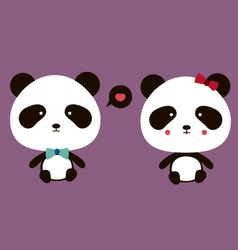 Happy couple panda vector image vector image
