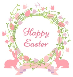 Happy Easter floral wreath vector