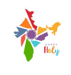 happy holi hands in india map logo vector image