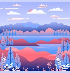 hills landscape in flat style design valley vector image