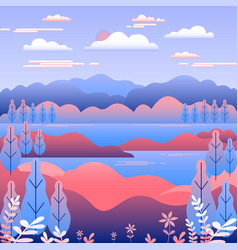 hills landscape in flat style design valley with vector image