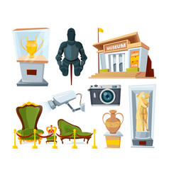 Historical museum with various display exhibit vector