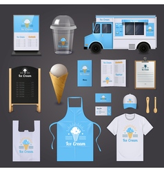 Ice Cream Corporate Identity Icons Set vector
