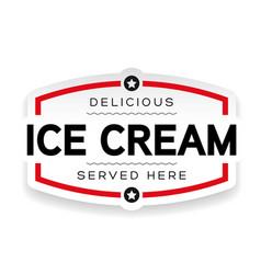 ice cream label sign vintage vector image