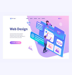 isometric concept young people are engaged in web vector image