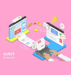 Isometric flat concept guest blogging vector