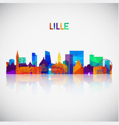 lille skyline silhouette in colorful geometric vector image