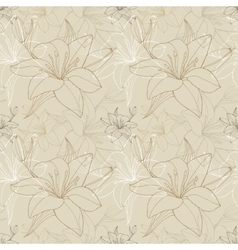 Lily line in beige color seamless pattern vector image