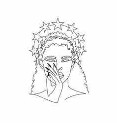 Line art actress woman minimal drawing vector