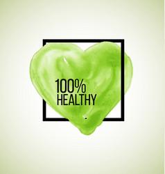 modern healthy label watercolor heart vector image