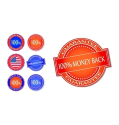 Money Back Guarantee Seal Set vector image