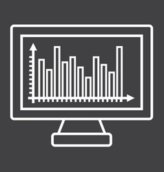 Monitor chart line icon business and graph vector