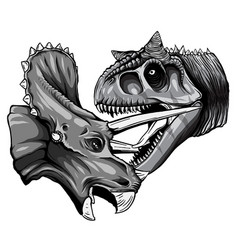 Monochromatic tracing dinosaur vector