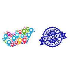 Mosaic map of hungary with map pointers and vector