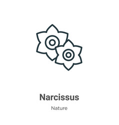 Narcissus outline icon thin line black narcissus vector