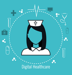 Nurse digital medical healthcare isolated vector