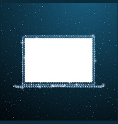 open laptop polygonal concept wireframe portable vector image