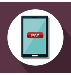 Pay and commerce on line with smartphone vector