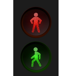Pedestrian traffic lights with red and green lamps vector