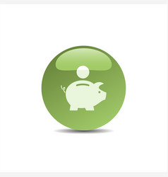 Piggy bank icon on a green bubble vector