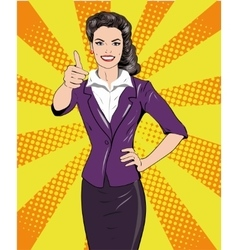 Pop art retro style woman showing thumb up hand vector