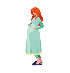 Pregnant woman touching her belly vector