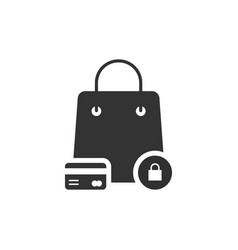 protected shopping with black bag and credit card vector image vector image