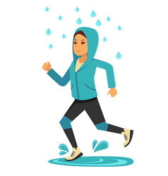 Rainy weather woman or girl jogging under rain vector
