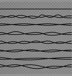 Realistic black curved electric wires vector