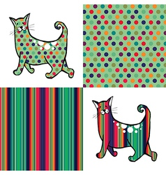 Retro style cats and backgrounds vector image