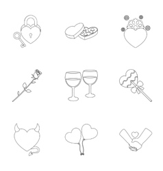 Romantic set icons in outline style Big vector
