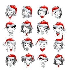 Santa girl collection sketch for your design vector image
