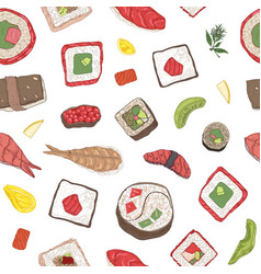 seamless pattern with maki and nigiri sushi vector image