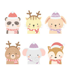 set cute animals for winter vector image