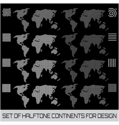 Set of halftone continents for design vector