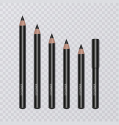 set of realistic black eyeliner pencils vector image