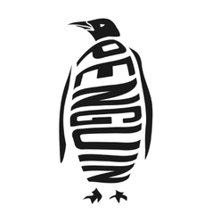 Silhouette of penguin with concept word inside vector image