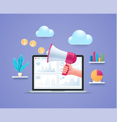 social media marketing concept in 3d style vector image