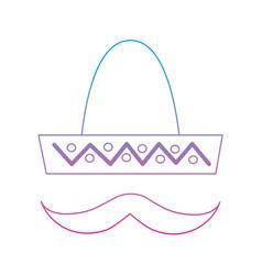 Sombrero hat with mustache mexico culture icon vector