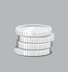 Stack of silver coins vector